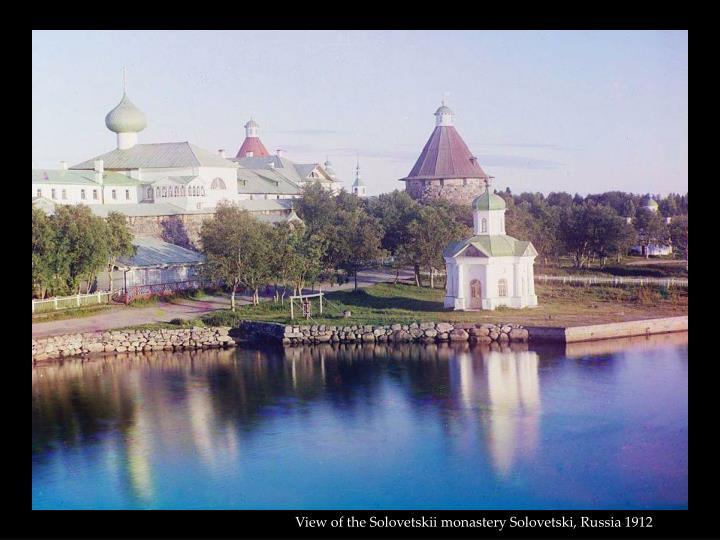 View of the Solovetskii monastery Solovetski, Russia 1912