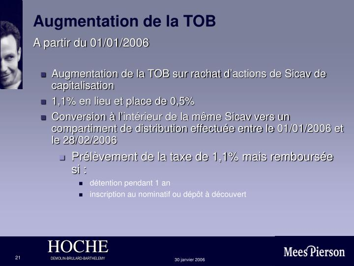 Augmentation de la TOB