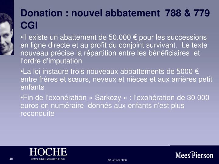 Donation : nouvel abbatement  788 & 779 CGI
