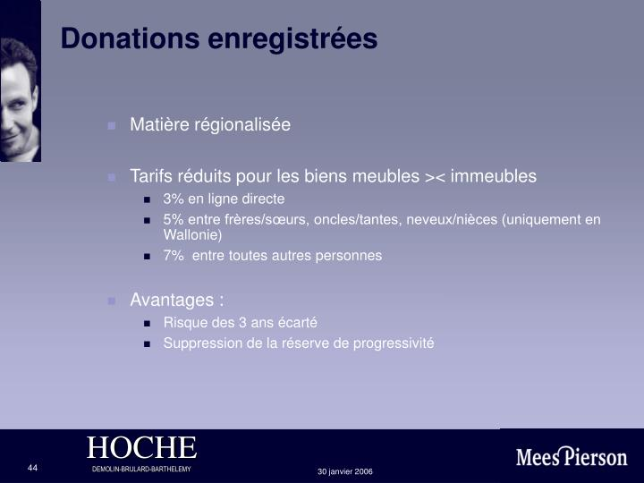Donations enregistrées
