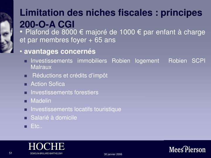 Limitation des niches fiscales :