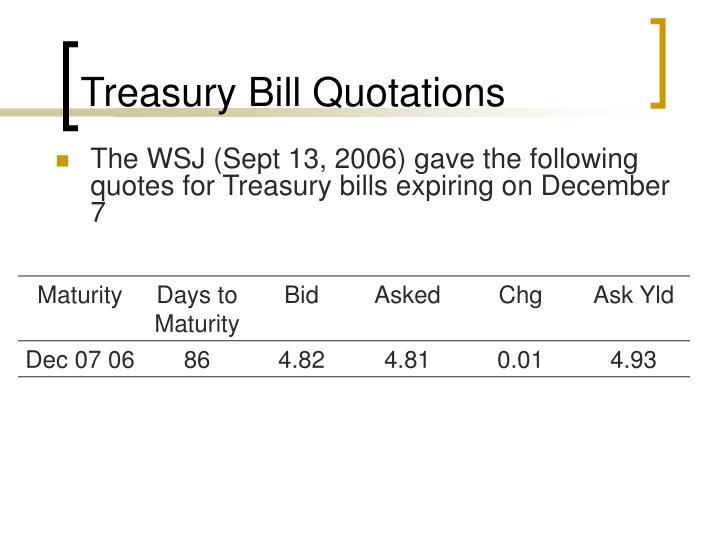 Treasury Bill Quotations