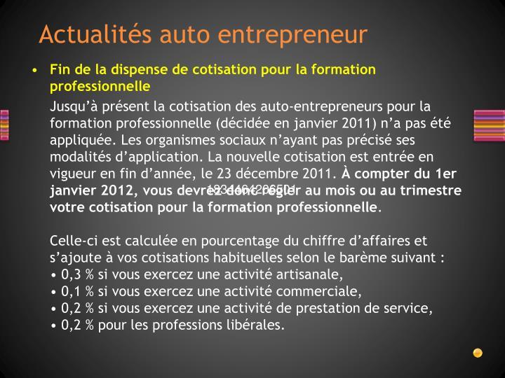 Actualités auto entrepreneur