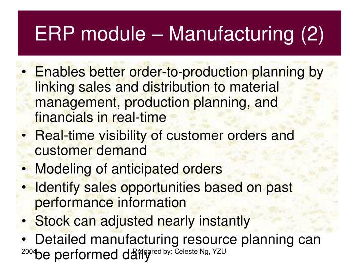 ERP module – Manufacturing (2)
