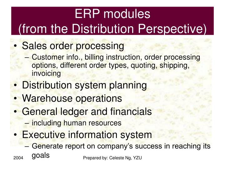 Erp modules from the distribution perspective