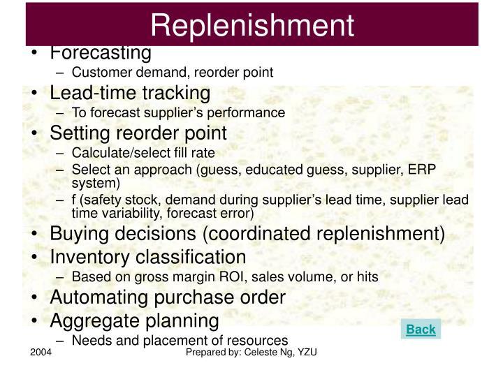 Replenishment