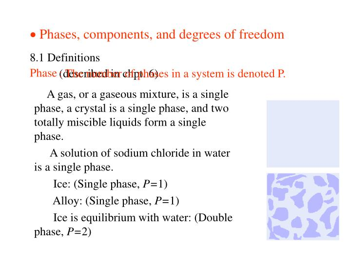 Phases components and degrees of freedom
