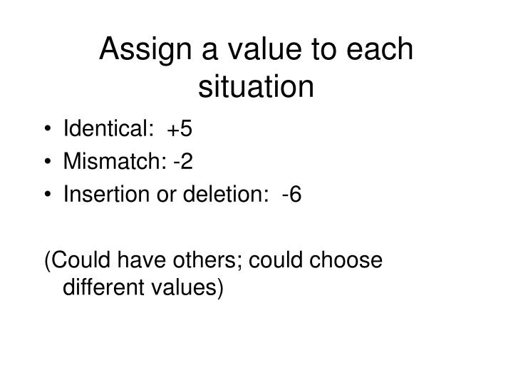 Assign a value to each situation