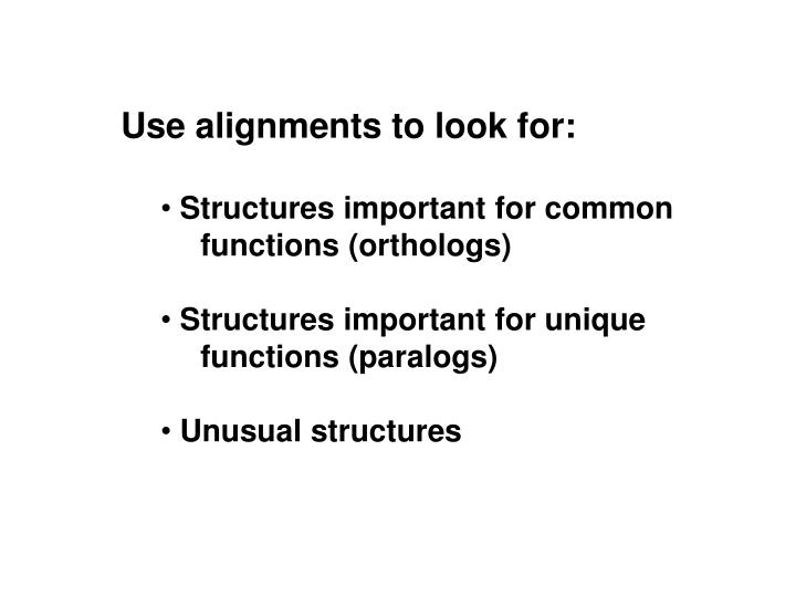 Use alignments to look for: