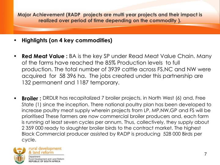 Major Achievement (RADP  projects are multi year projects and their impact is realized over period of time depending on the commodity ).