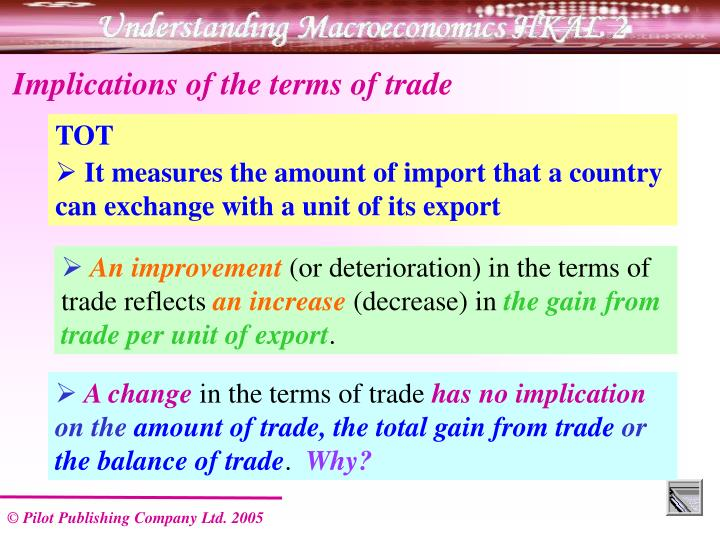 Implications of the terms of trade