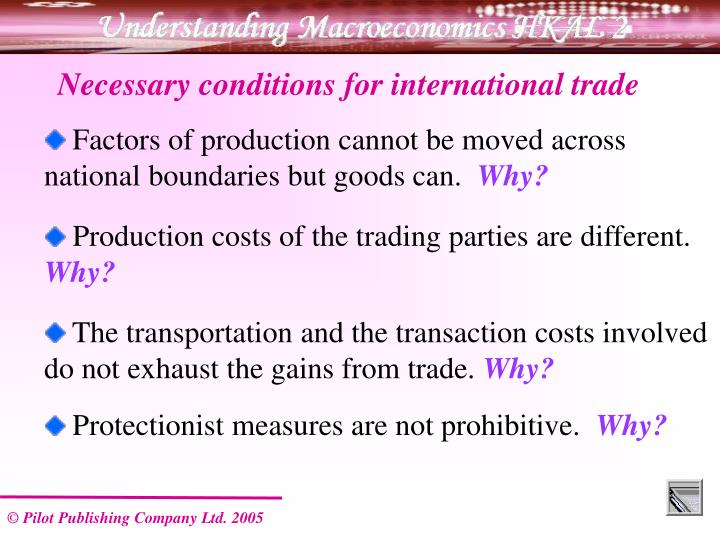 Necessary conditions for international trade