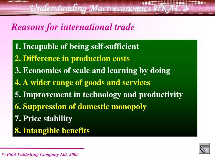 Reasons for international trade