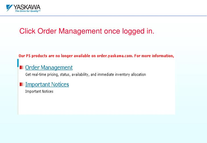 Click Order Management once logged in.