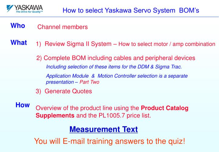 How to select yaskawa servo system bom s
