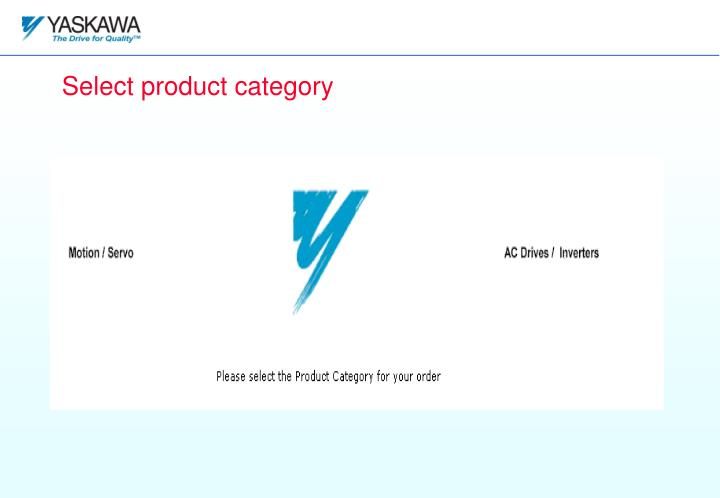 Select product category
