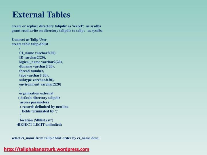 External Tables
