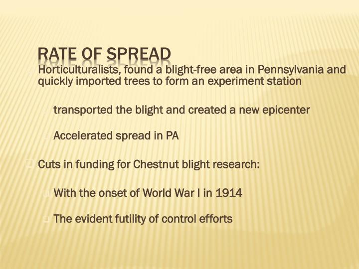 Horticulturalists, found a blight-free area in Pennsylvania and quickly imported trees to form an experiment station