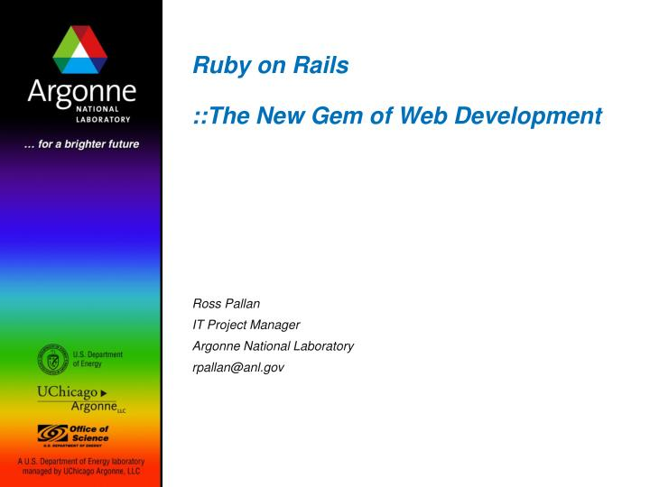 PPT - Ruby on Rails ::The New Gem of Web Development