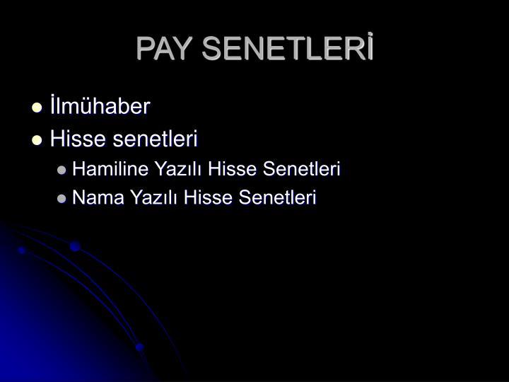 PAY SENETLERİ