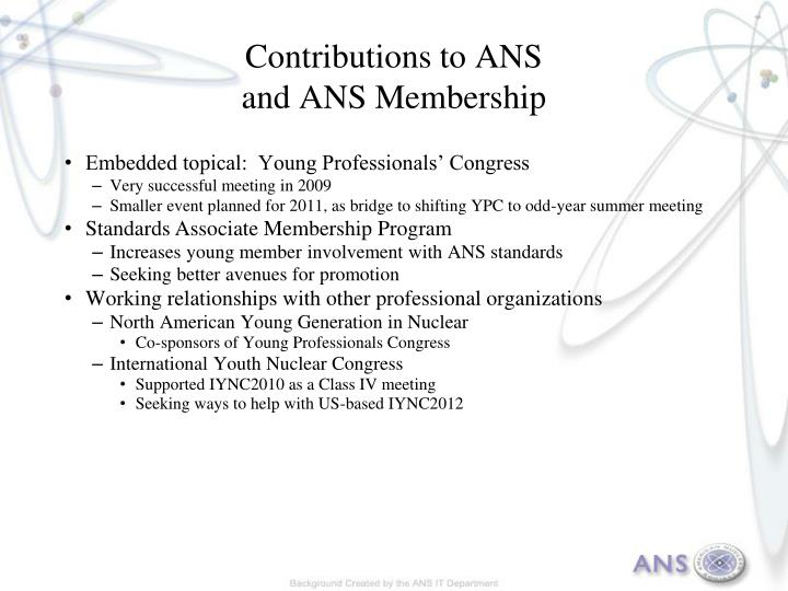 Contributions to ANS