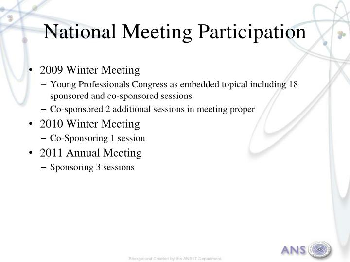 National Meeting Participation