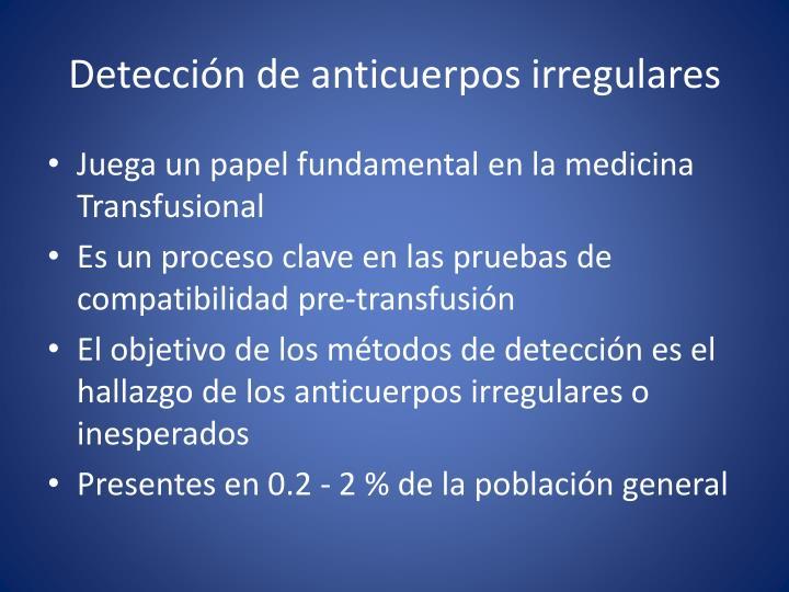 Detección de anticuerpos irregulares