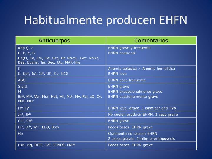 Habitualmente producen EHFN