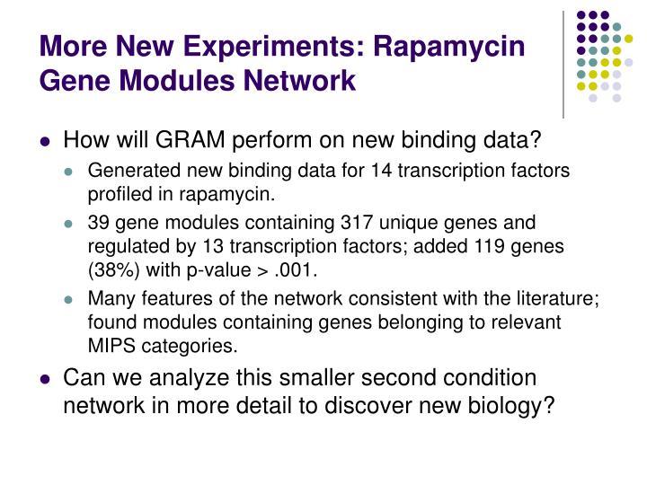 More New Experiments: Rapamycin Gene Modules Network
