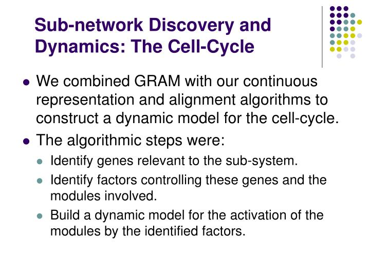 Sub-network Discovery and Dynamics: The Cell-Cycle