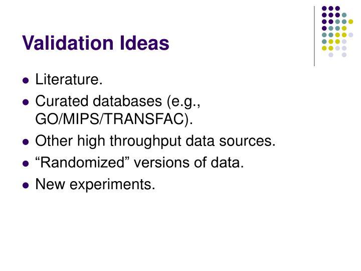 Validation Ideas