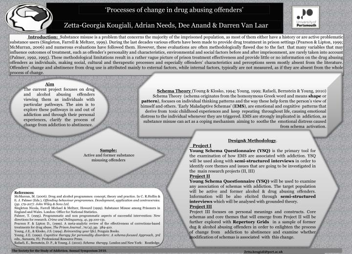 'Processes of change in drug abusing offenders'
