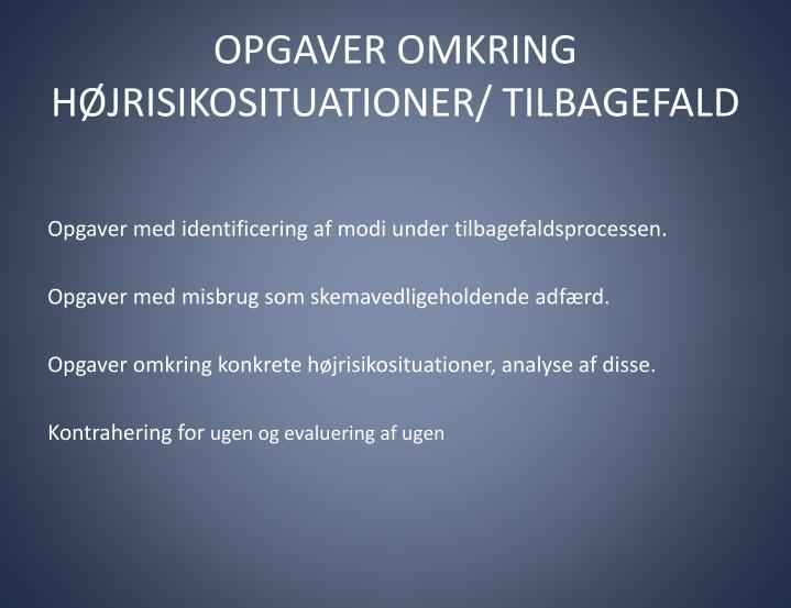 OPGAVER OMKRING HØJRISIKOSITUATIONER/ TILBAGEFALD