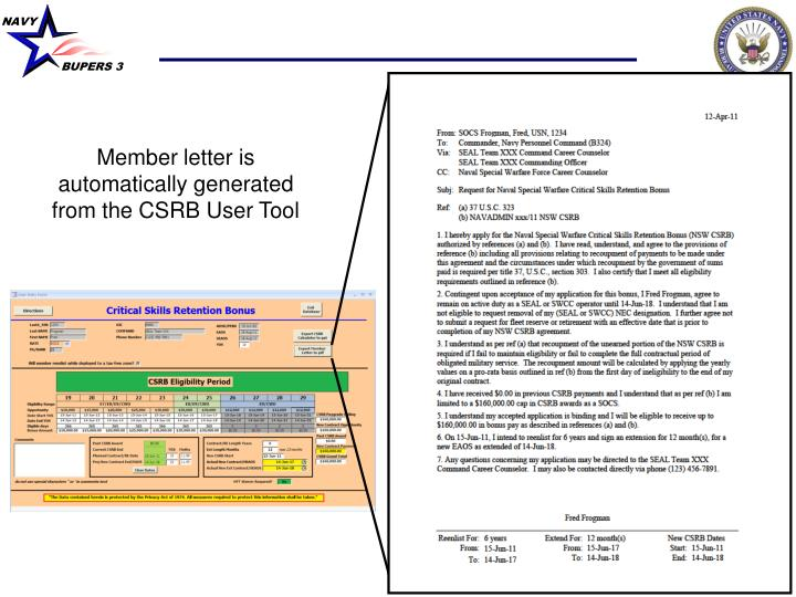 Member letter is automatically generated from the CSRB User Tool