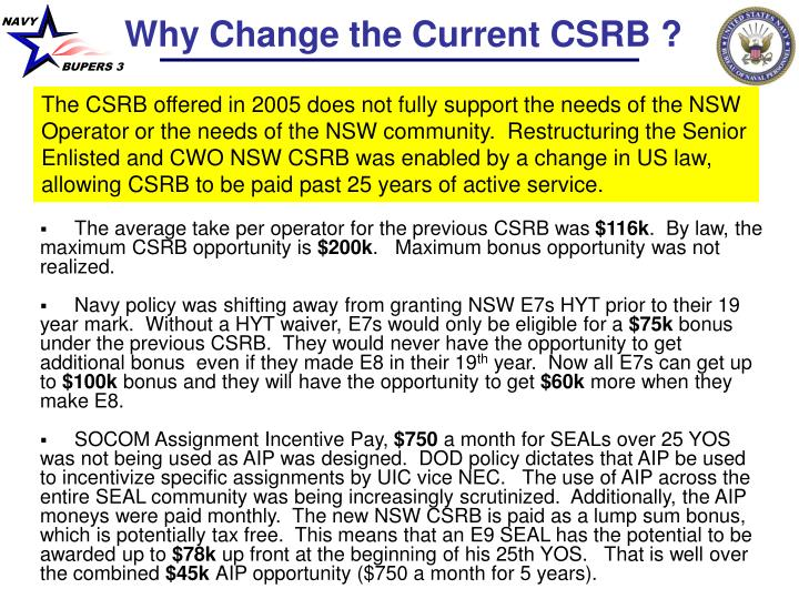 Why Change the Current CSRB ?