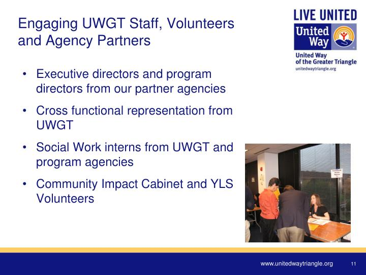 Engaging UWGT Staff, Volunteers and Agency Partners