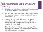 four assumptions about evaluating coaching