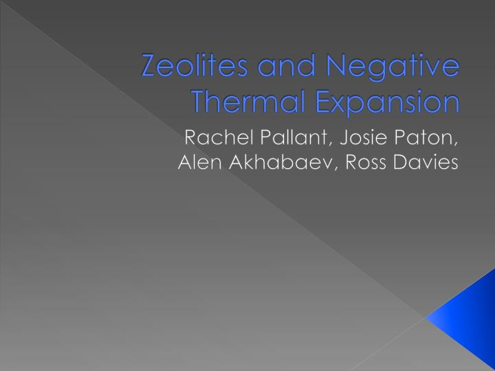 zeolites and negative thermal expansion n.