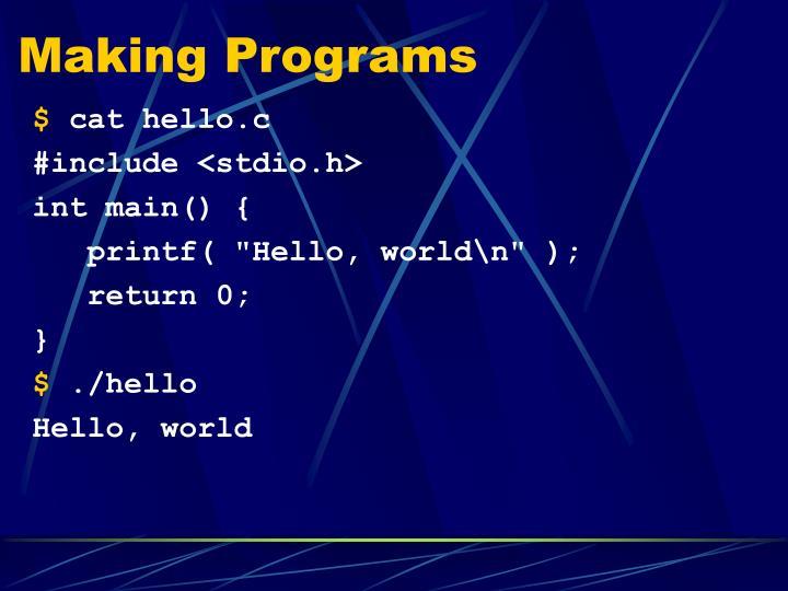Making Programs