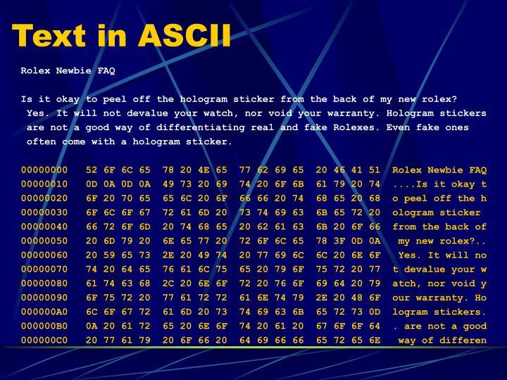 Text in ASCII
