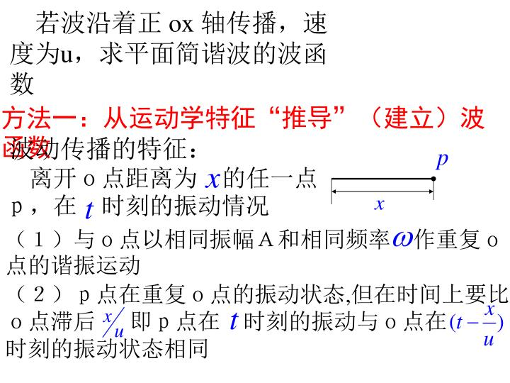 离开o点距离为 的任一点p,在 时刻的振动情况