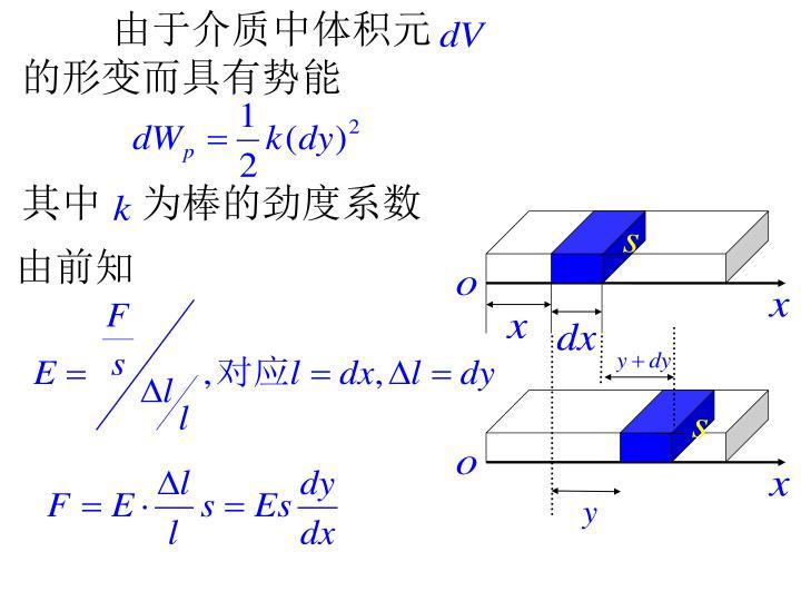由于介质中体积元  的形变而具有势能