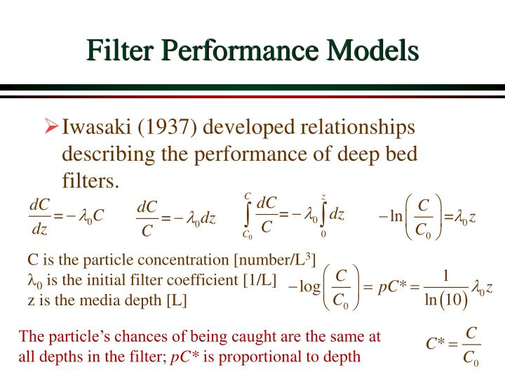 Filter performance models