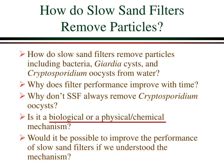 How do Slow Sand Filters Remove Particles?