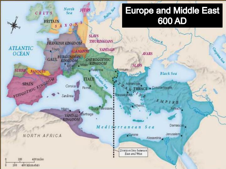 Europe and Middle East 600 AD