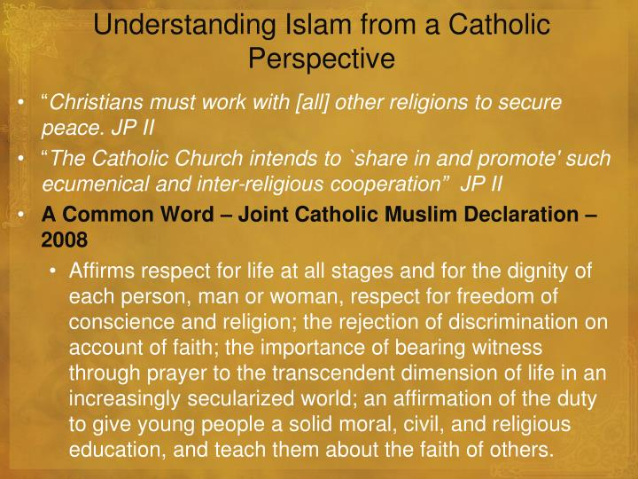Understanding Islam from a Catholic Perspective