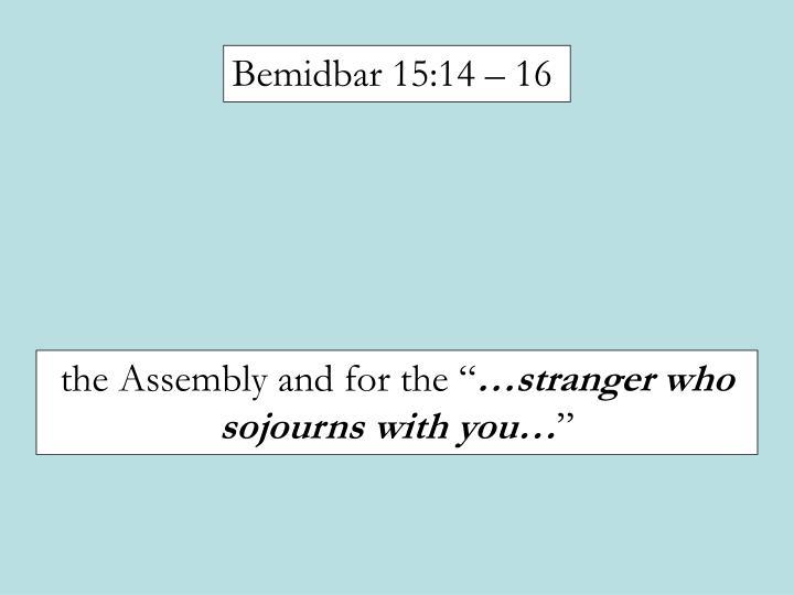 Bemidbar 15:14 – 16