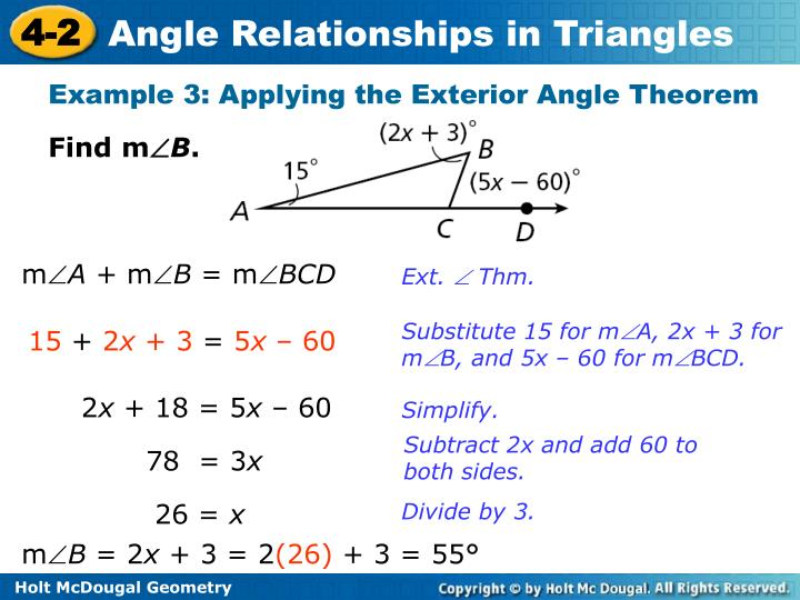 Example 3: Applying the Exterior Angle Theorem