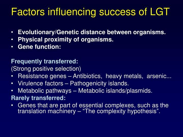Factors influencing success of LGT