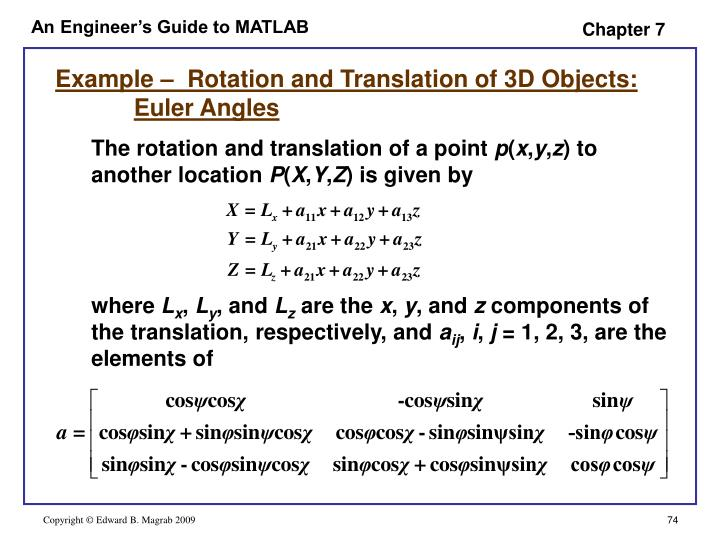 Example –  Rotation and Translation of 3D Objects: